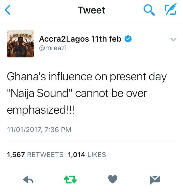 Mr Eazi's tweet which started a Ghana-Nigeria Twitter War