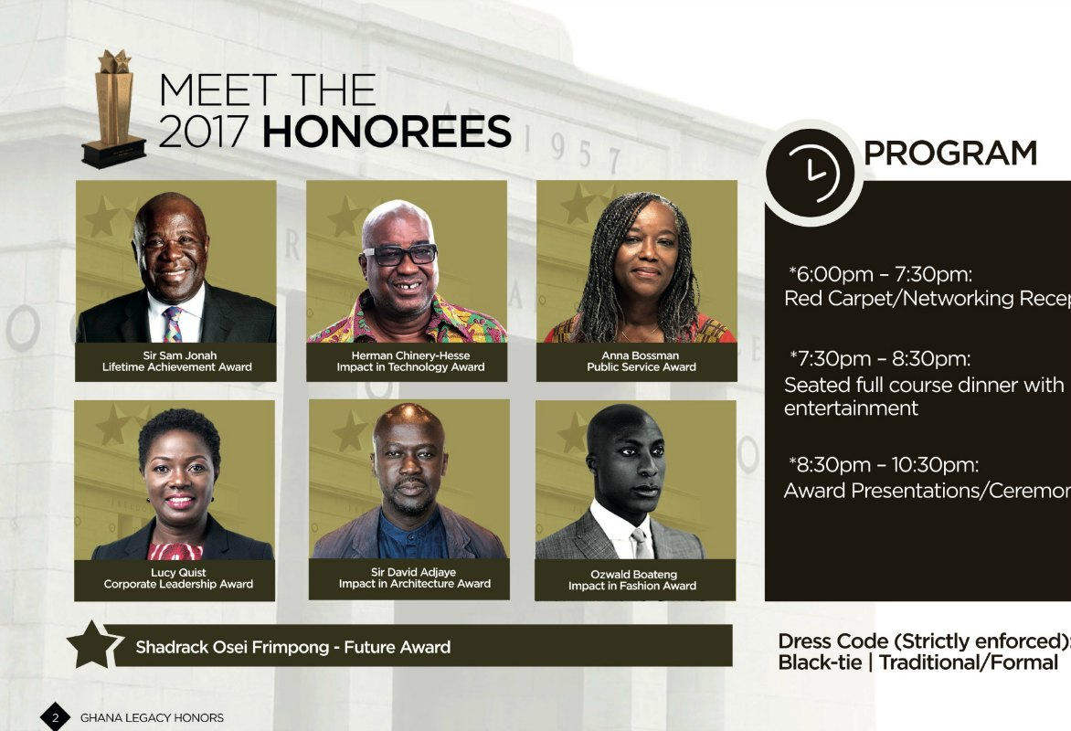 Sir Sam Jonah, Ozwald Boateng And More To Be Honored At Ghana Legacy Honors