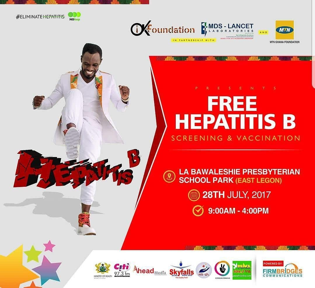 Okyeame Kwame's philanthropy through the annual hepatitis B sessions, with partnership from MDS-LANCET Laboratories will be re-lived this year on the World Hepatitis Day. The 2017 edition will be held on 28th July at La Bawaleshie Presbyterian School part, East Legon, Accra from 9am to 4pm. The screening will be done by a team of diligent, well-trained MDS-LANCET personnel who have provided this professional service to this course for the past 5 years.  The campaign, dating back to 2009 has seen various regions of the country including Kumasi, Takoradi, Accra, Ho and Sunyani with over 7,000 individuals benefiting from the sessions each year across all regions.  OK, in the preceding days has been committed to an intensive social media health education on the subject. As an ambassador, he entreats all and sundry to actively participate in the global commemoration through volunteering education, getting tested and vaccinated.   The project, a heartbeat of the OK Foundation has attracted numerous local and international laurels for the artiste, and has received support from MTN Ghana Foundation (whose support has been very positive instrumental and over years) ; and is endorsed by the Ministry of Health and Ghana Health Services.  This year's is sponsored by Citi FM, Peace FM, Ahead Media, Skyfalls Mineral Water and powered by Firm Bridges Communications.   Get involved, share a video on social media pledging to support the #EliminateHepatitis campaign.