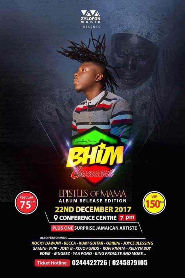 Stonebwoy's 'Bhim Concert' to be held on Dec 22