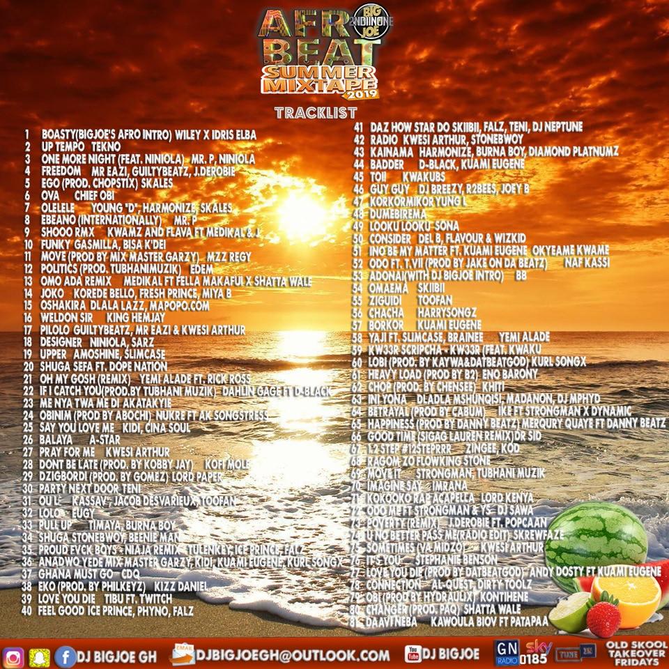 DJ BIGJOE - AFROBEAT SUMMER 2019 MIXTAPE tracklist back edited
