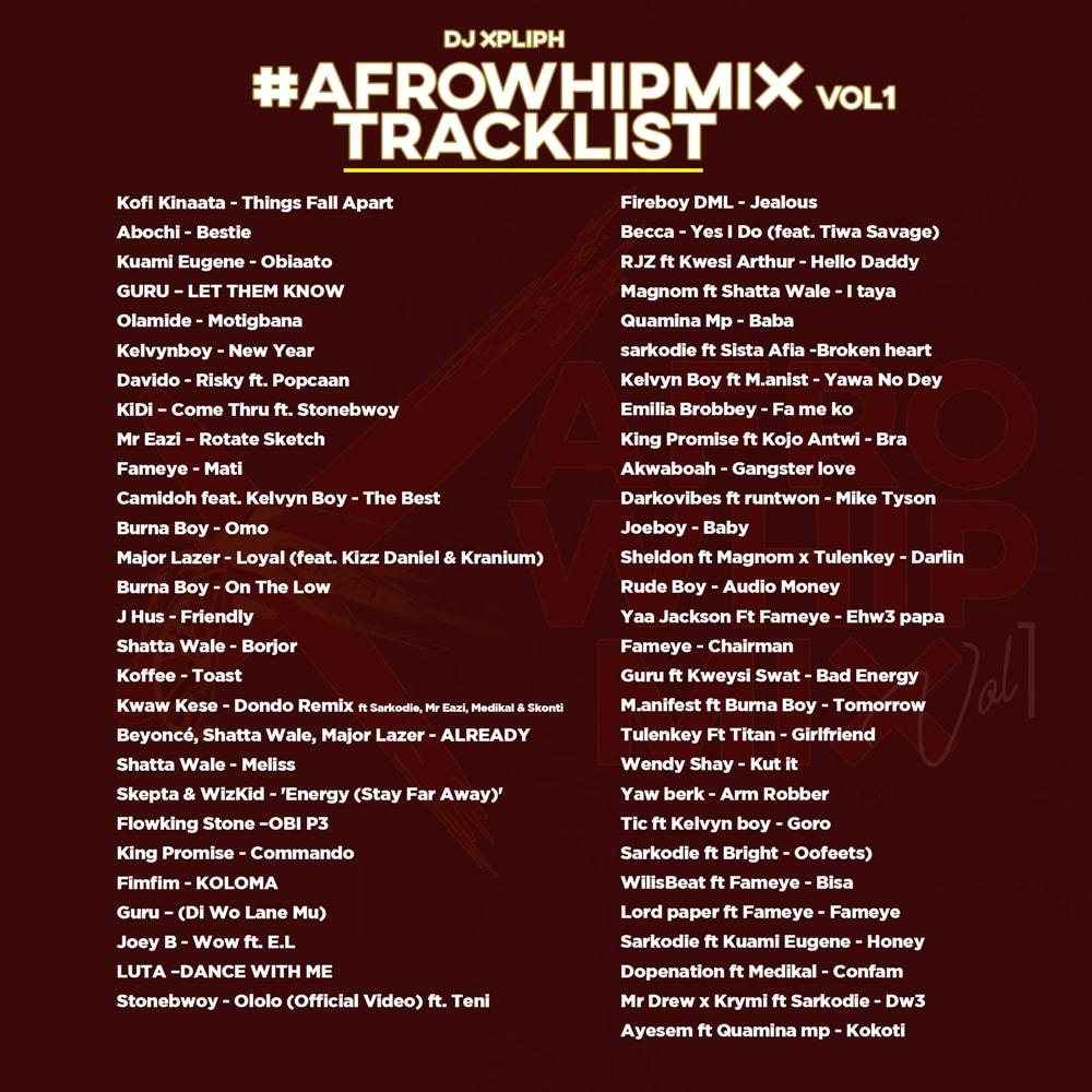 DJ Xpliph - Afro Whip Mix Vol 1 tracklist